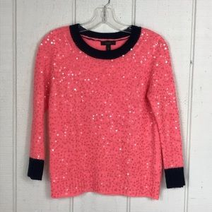 J Crew coral sweater with sequins size XS
